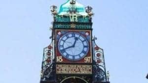 Image of clock tower face in Chester